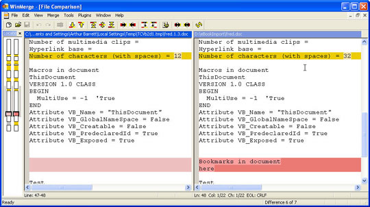 WinMerge Screenshot